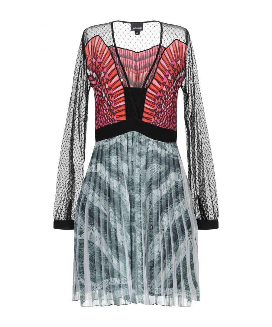 Image for Just Cavalli Red Crepe And Lace Long Sleeve Dress