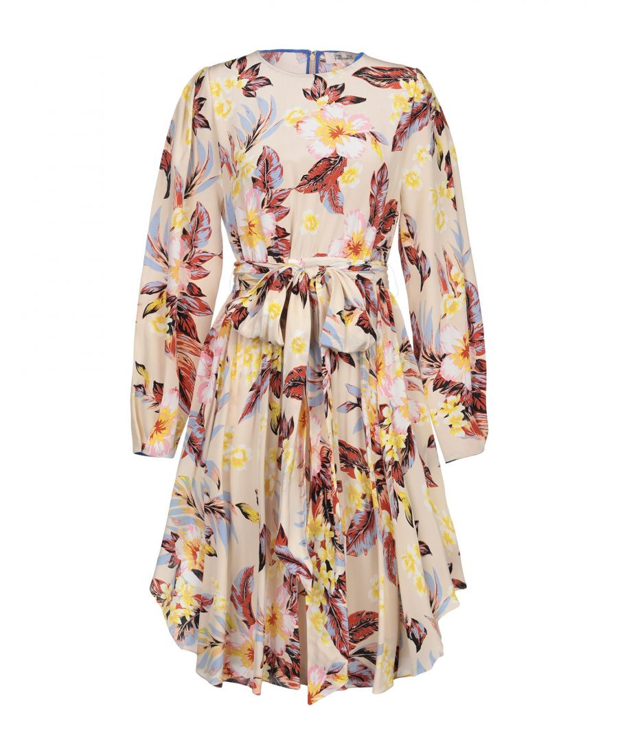 Image for Diane Von Furstenberg Beige Print Silk Dress