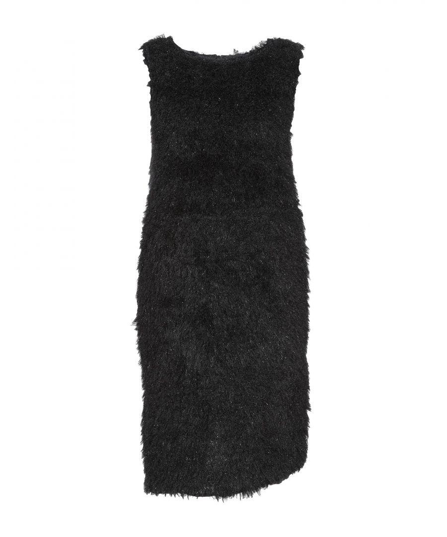 Image for Souvenir Black Faux Fur Dress