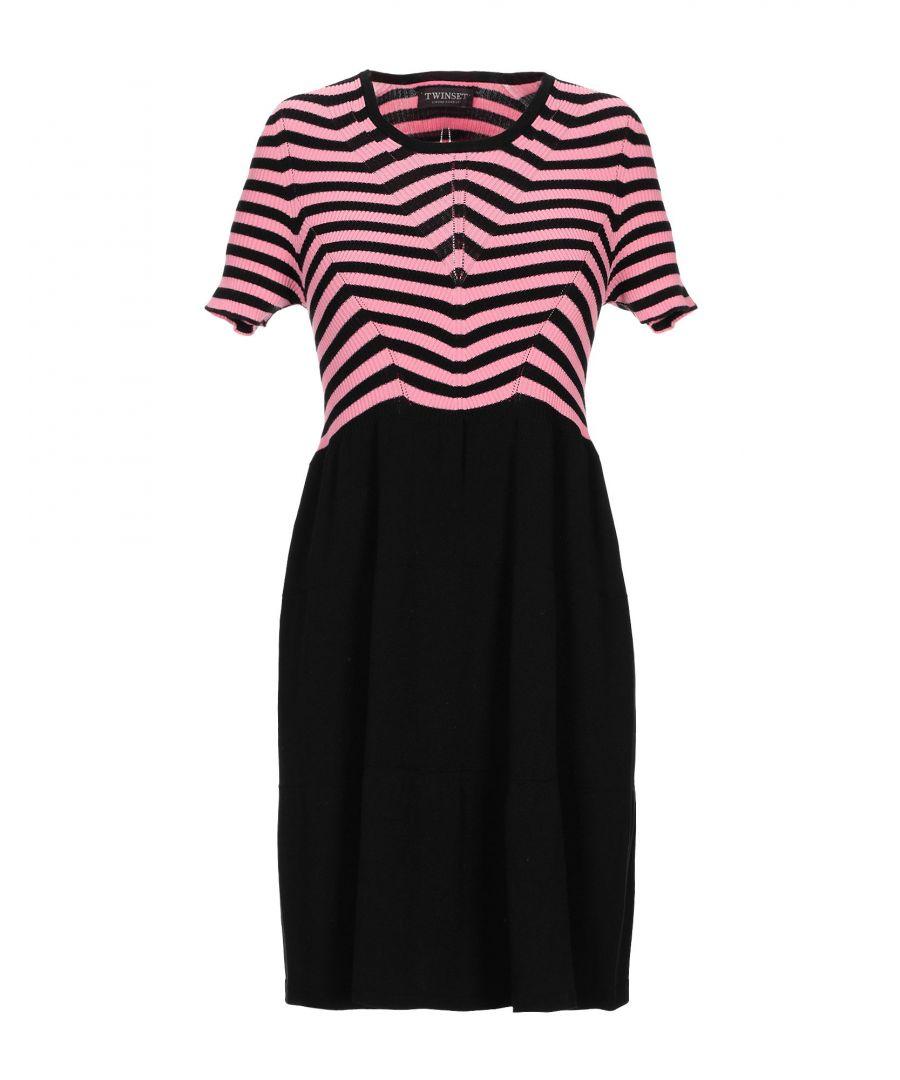 Image for Twinset Pink Stripe Short Sleeve Dress