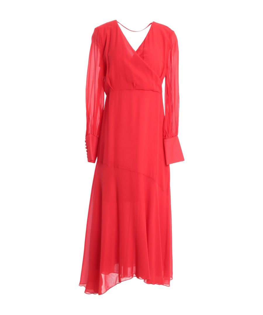 Image for Federica Tosi Red Silk Long Sleeve Dress