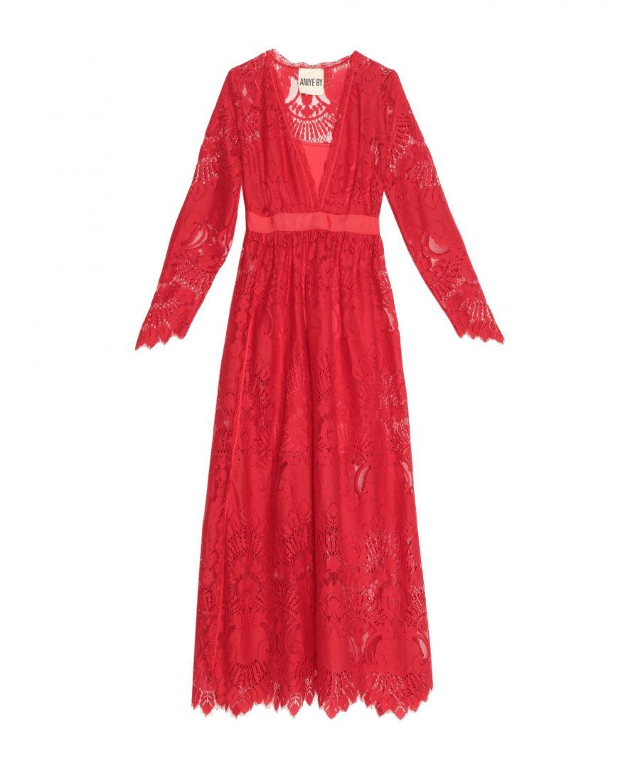 Image for Aniye By Red Cotton Lace Full Length Dress