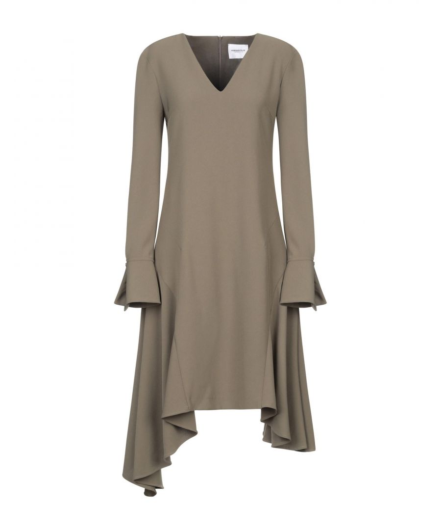 Image for Annarita N Twenty 4H Military Green Crepe Long Sleeve Dress