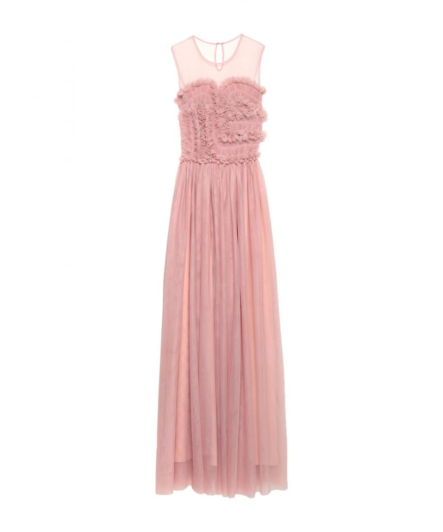 Image for P.A.R.O.S.H. Pastel Pink Tulle And Ruffles Full Length Dress