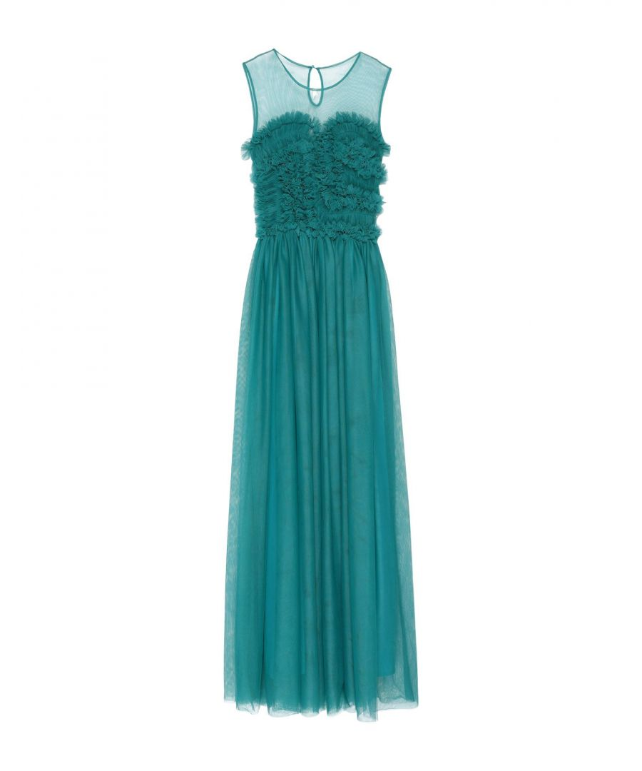 Image for P.A.R.O.S.H. Deep Jade Tulle Full Length Dress