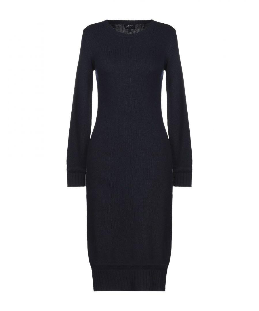 Image for Armani Jeans Dark Blue Virgin Wool Knit Long Sleeve Dress