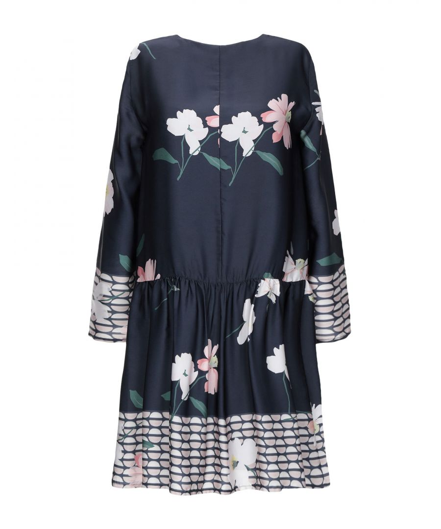 Image for Rue 8Isquit Dark Blue Floral Print Long Sleeve Dress