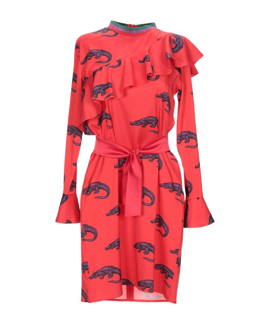 Image for Anni Carlsson Red Print Silk Long Sleeve Ruffle Dress