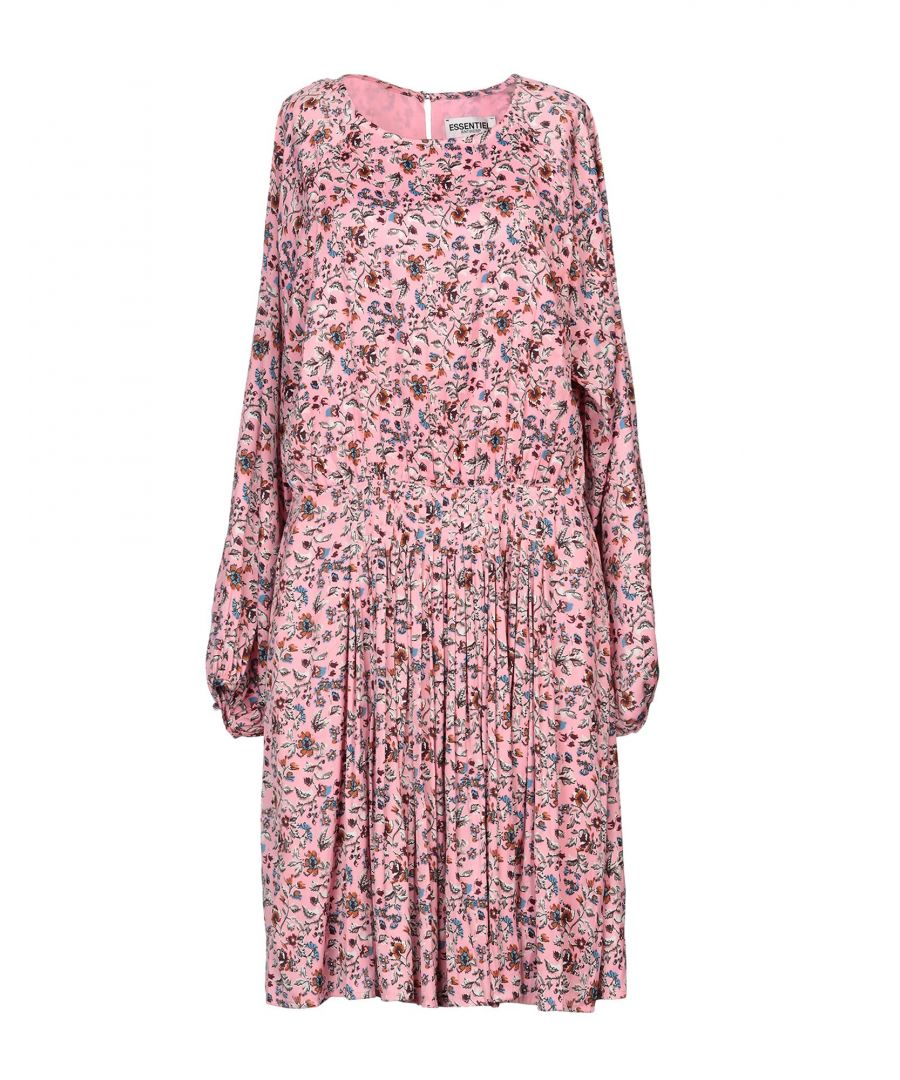 Image for Essentiel Antwerp Pink Floral Print Long Sleeve Dress