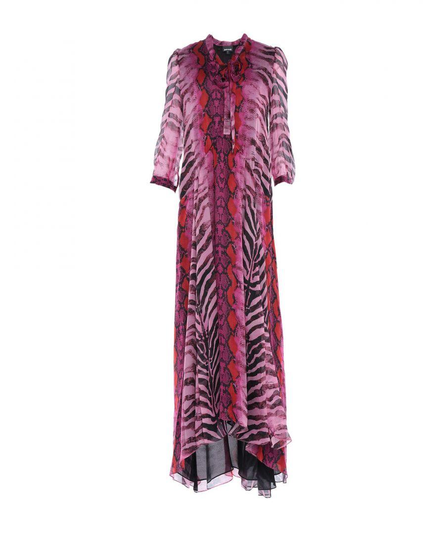 Image for Just Cavalli Fuchsia Animal Print Silk Full Length Dress