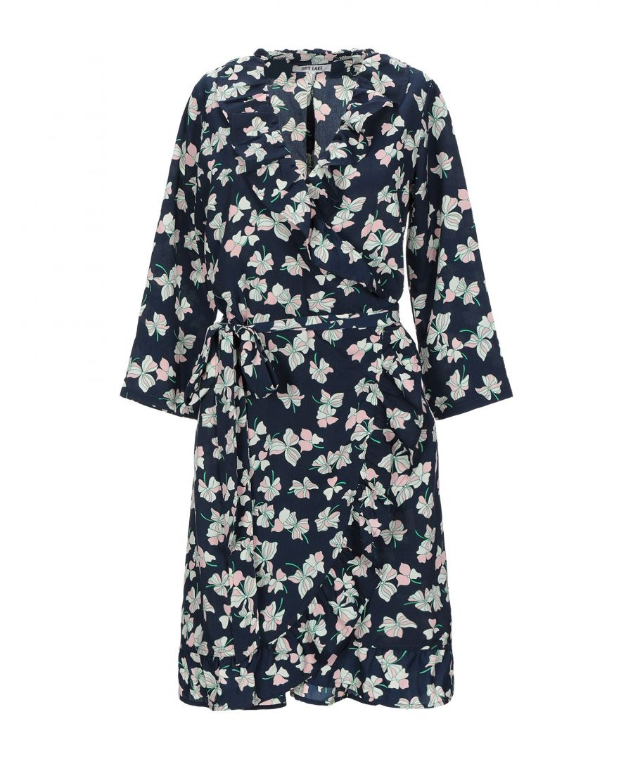 Image for Dry Lake. Dark Blue Floral Print Long Sleeve Dress