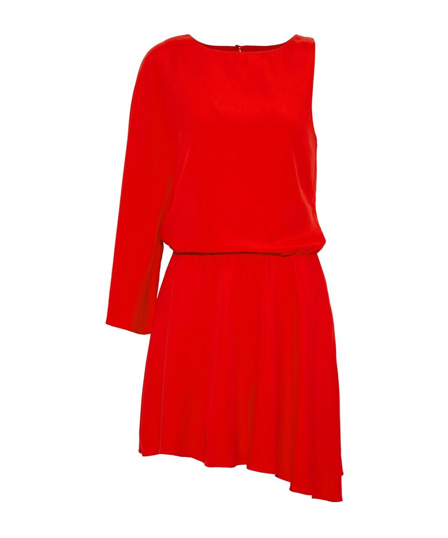 Image for Halston Red Crepe Asymmetrical Dress