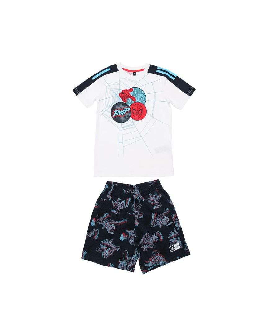 Image for Boy's adidas Infant Spider-Man Summer Set in White Navy