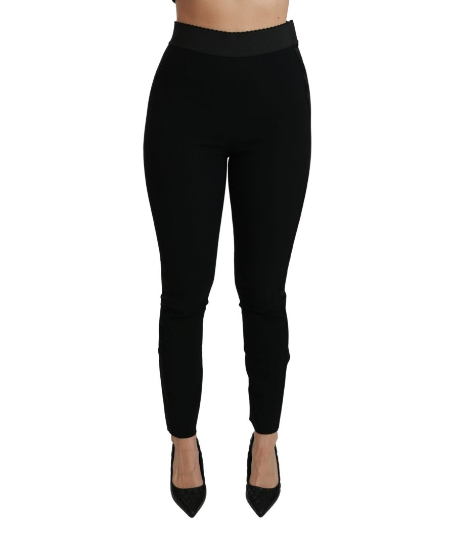 Image for Dolce & Gabbana Black Skinny High Waist Trousers Stretch Pants