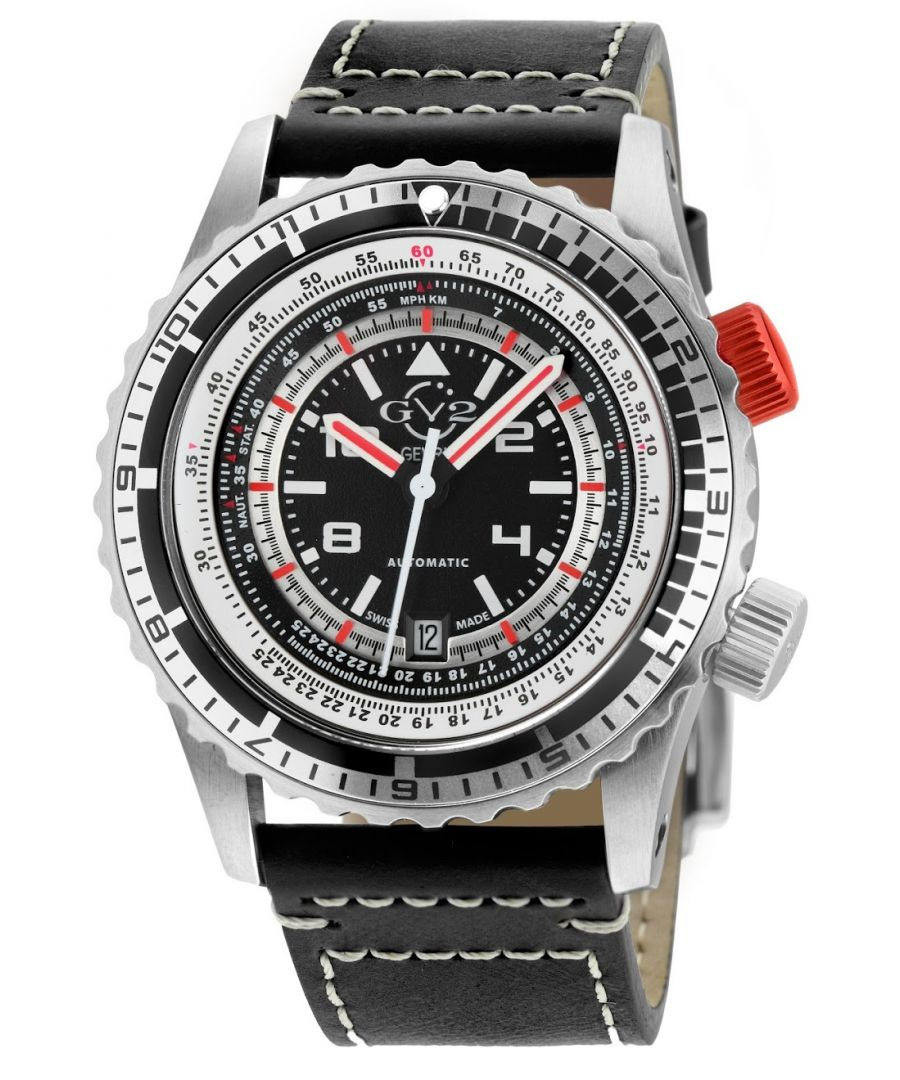 Image for GV2 Contasecondi Men's Black/Red Dial Black Calfskin Leather Watch