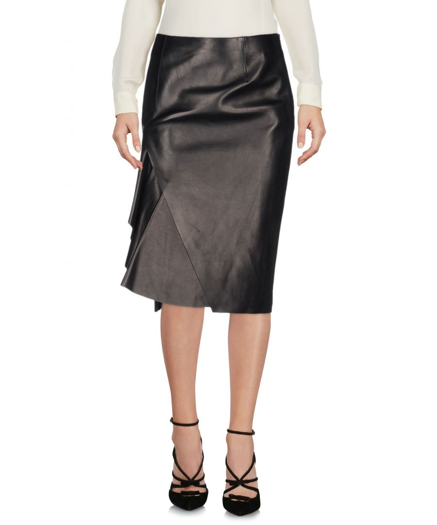 Image for Alexander McQueen Black Lambskin Knee Length Skirt