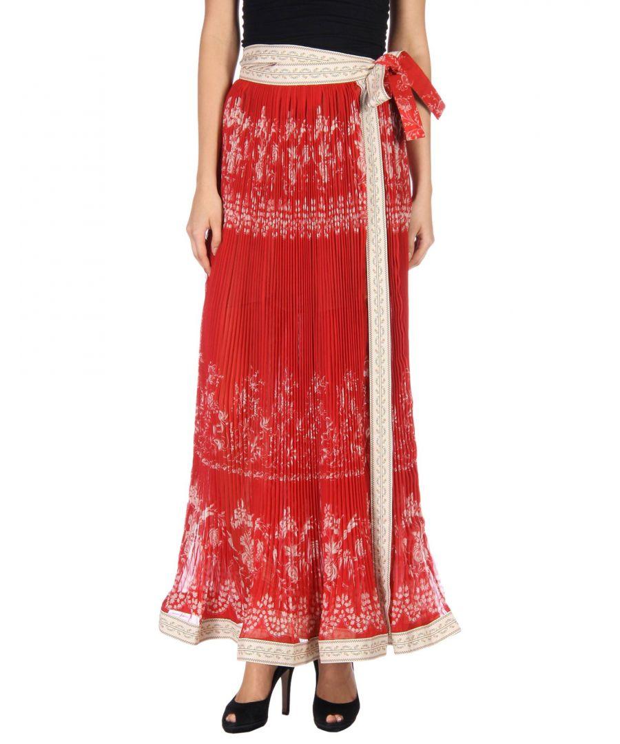 Image for Etro Red Crepe Floral Design Full Length Skirt