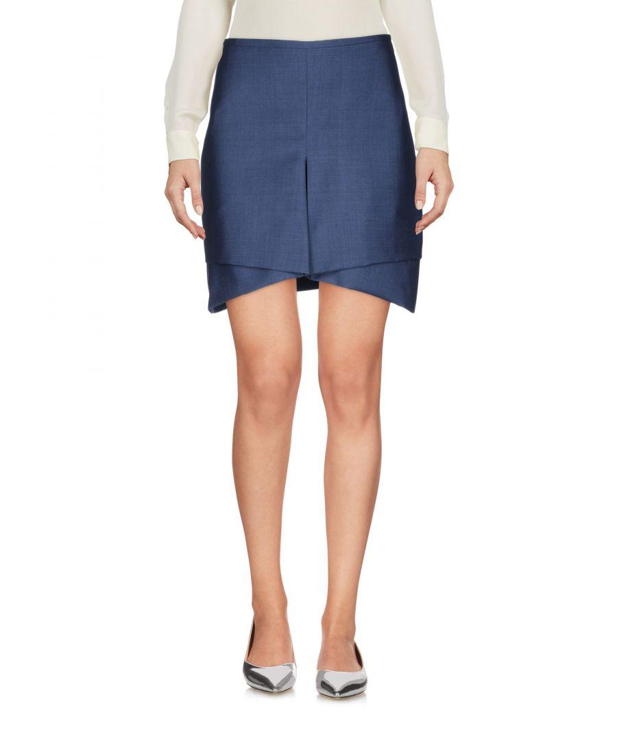 Image for Antonio Berardi Slate Blue Wool Skirt