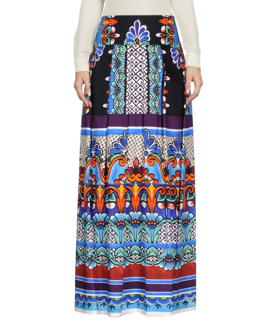 Image for Alberta Ferretti Blue Print Cotton Full Length Skirt