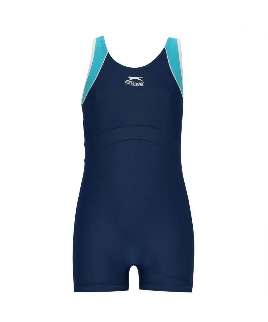 Image for Slazenger Girls Boyleg Swimming Suit Stretch Fit Swimwear Sea Pool Beach