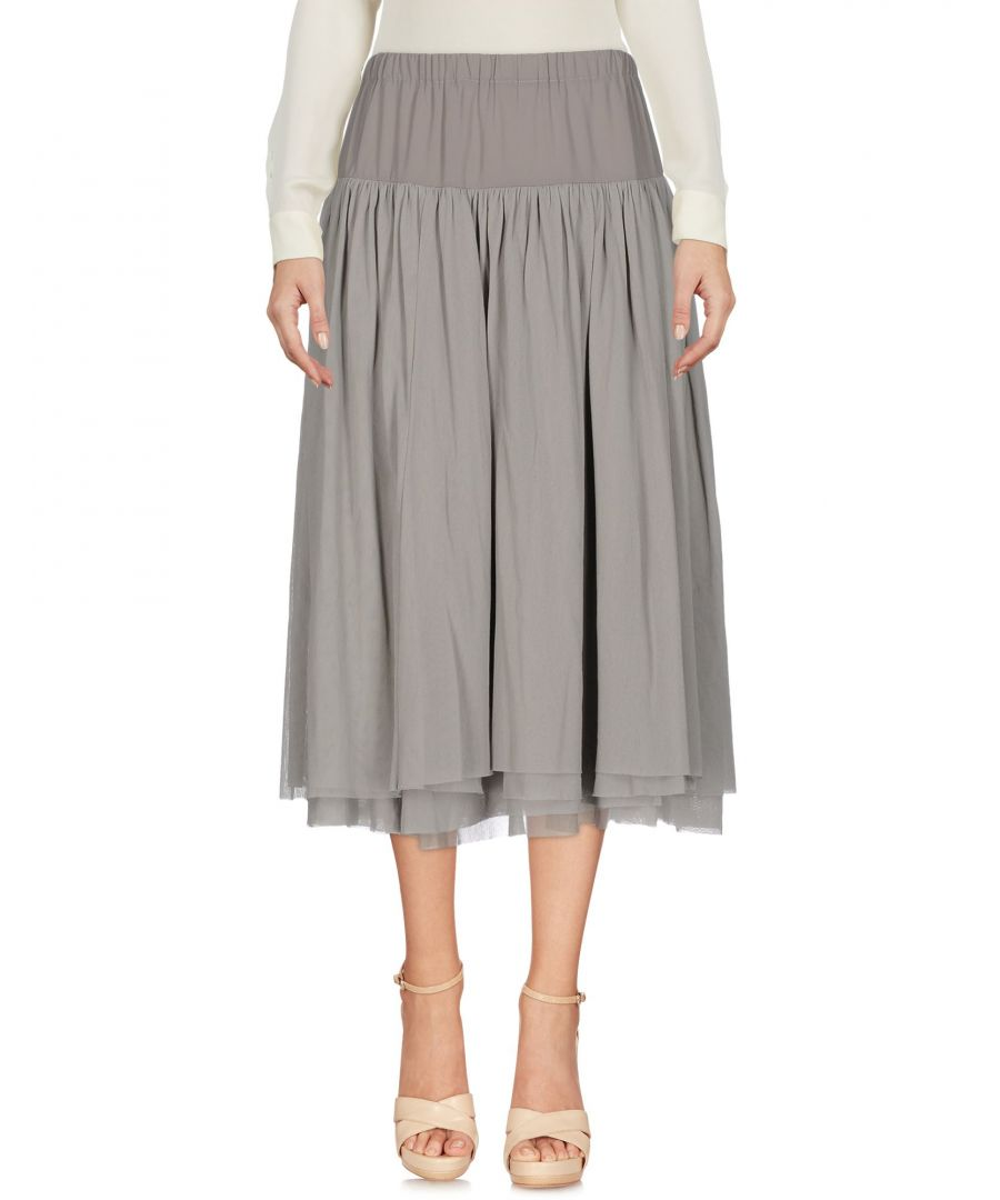 Image for Twinset Grey Crepe And Tulle Full Midi Skirt
