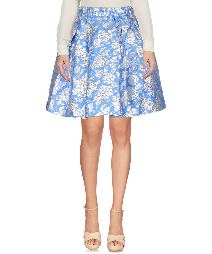 Image for MSGM Azure Jacquard Floral Design Skirt