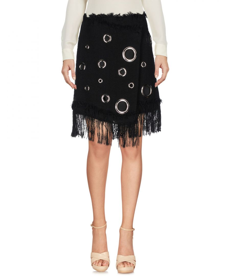 Image for MSGM Black Cotton Tweed Fringe Skirt