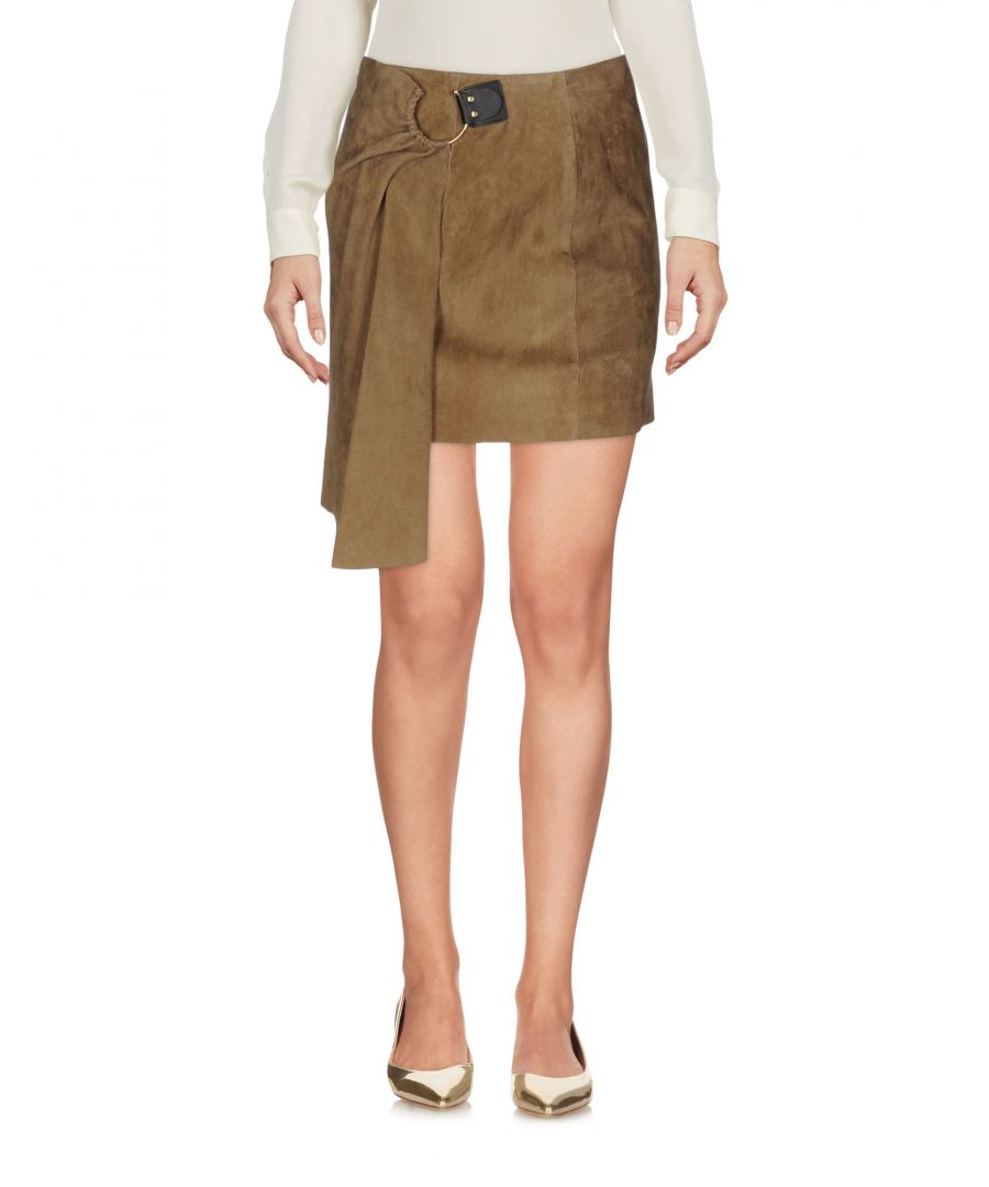 Image for Jitrois Khaki Lambskin Leather Skirt