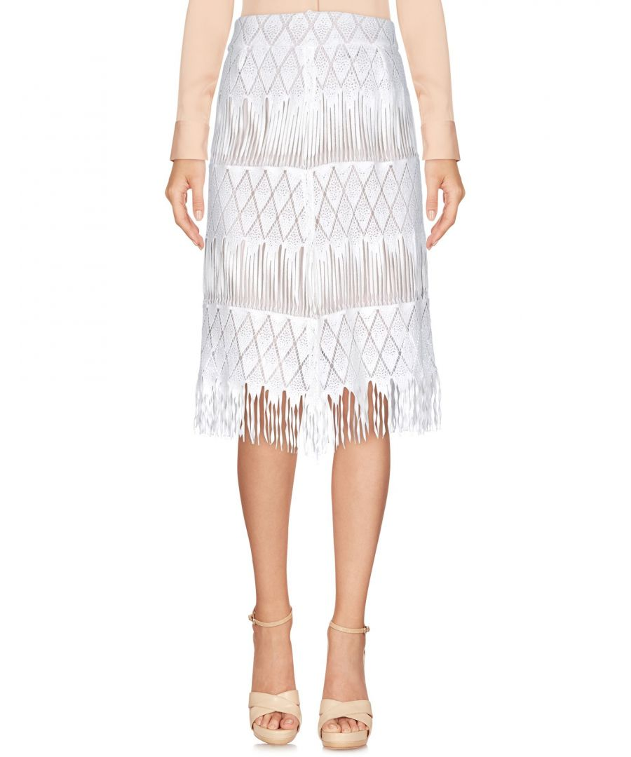 Image for Alex Vidal White Cotton Fringe Skirt