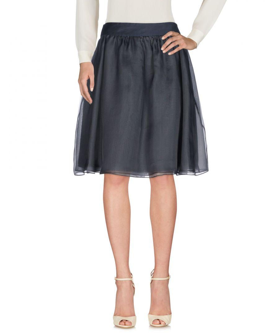 Image for Armani Collezioni Dark Blue Silk A-Line Knee Length Skirt