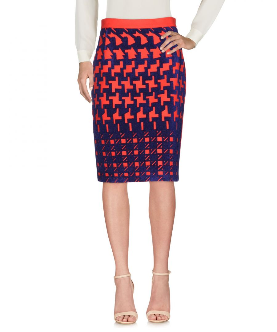 Image for Mary Katrantzou Red Houndstooth Print Wool Skirt