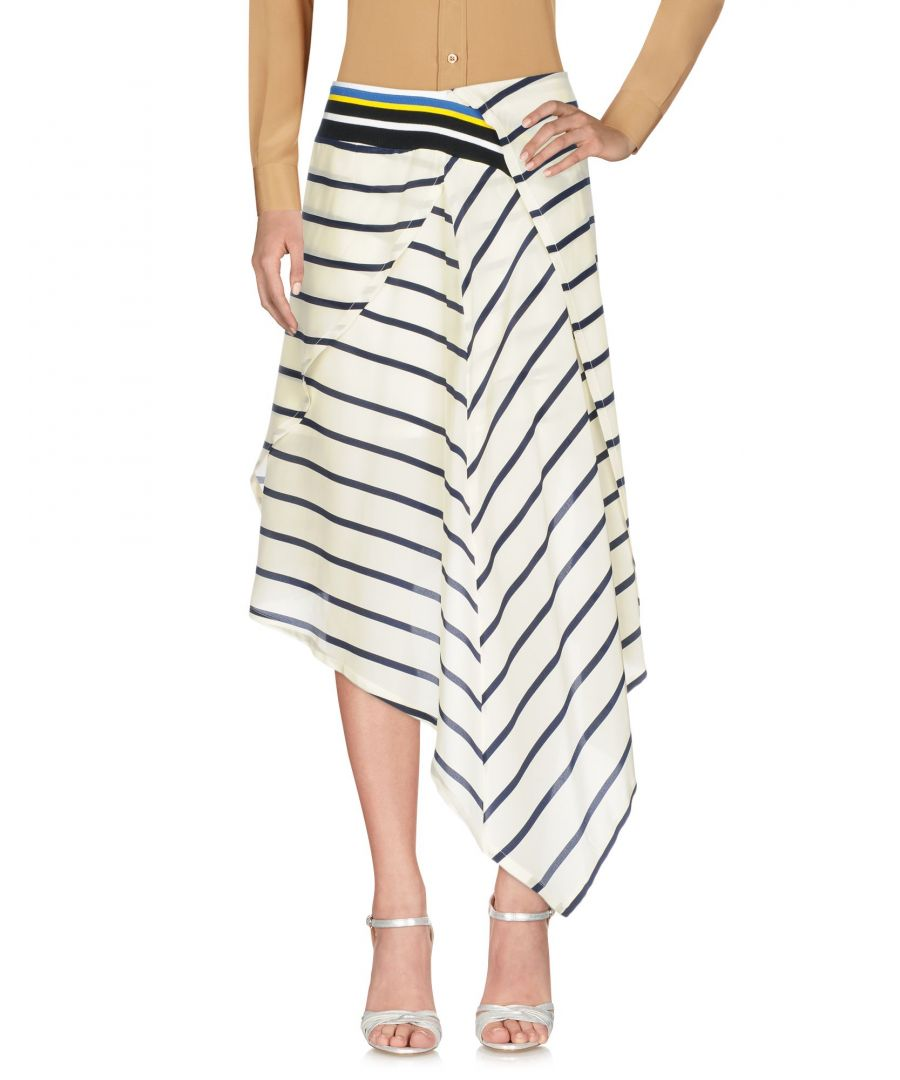 Image for Preen By Thornton Bregazzi Ivory Stripe Silk Skirt