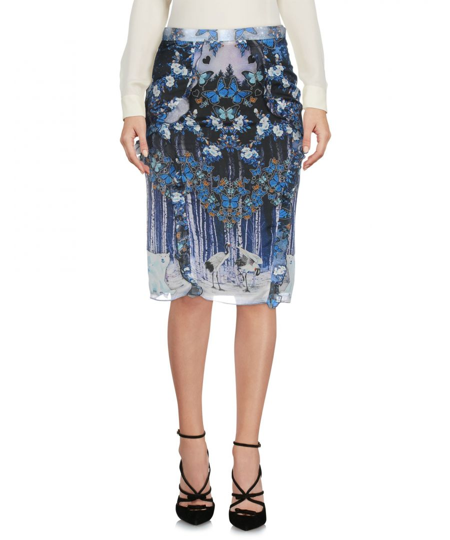 Image for Rary Black Print Silk Knee Length Skirt