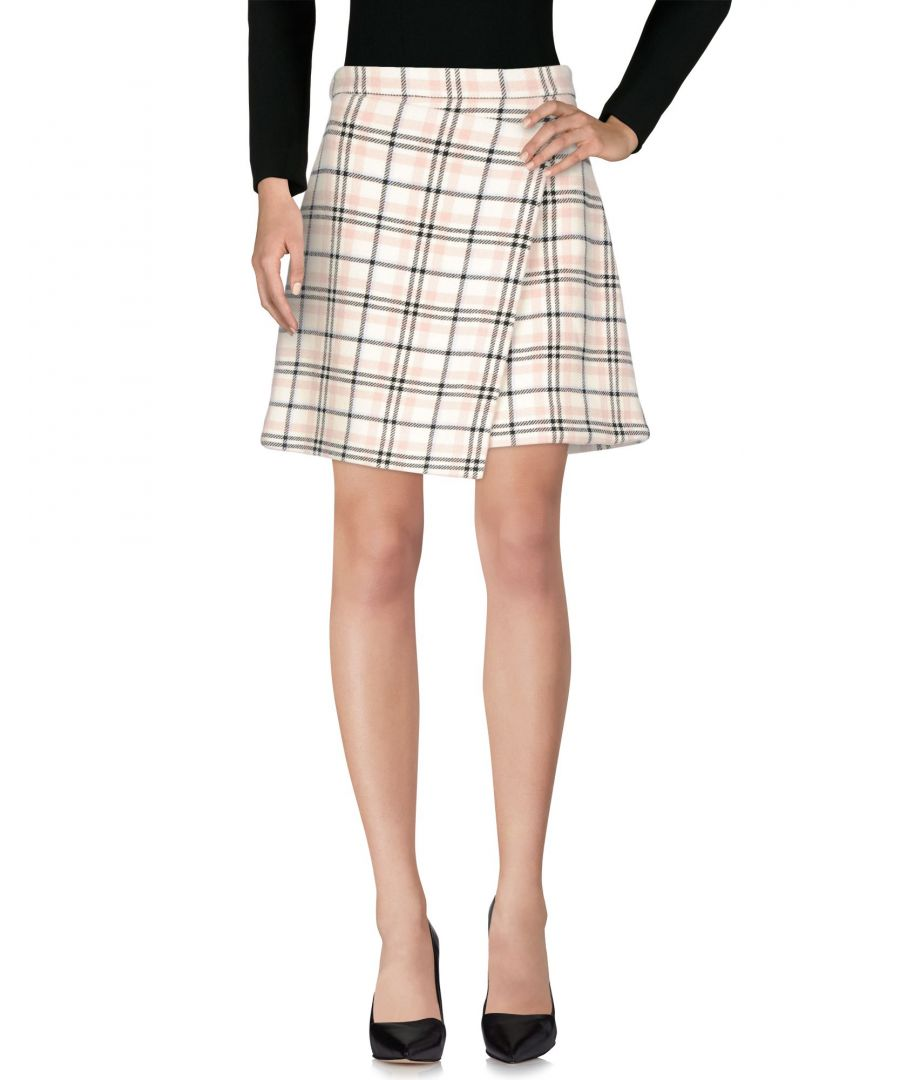 Image for Carven Pastel Pink Plaid Wool Skirt