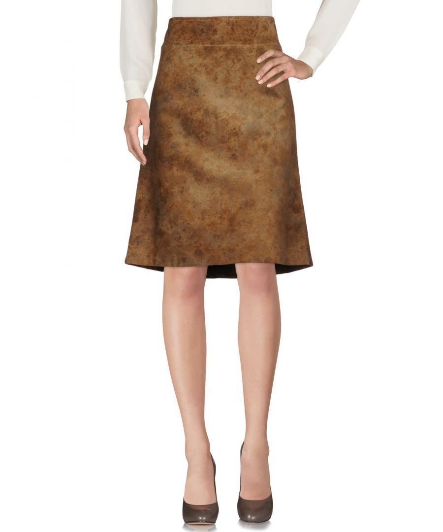 Image for Costume National Khaki Leather Skirt