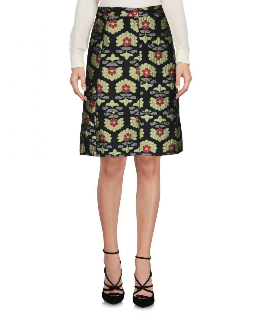 Image for Traffic People Black Floral Design Cotton Jacquard Skirt