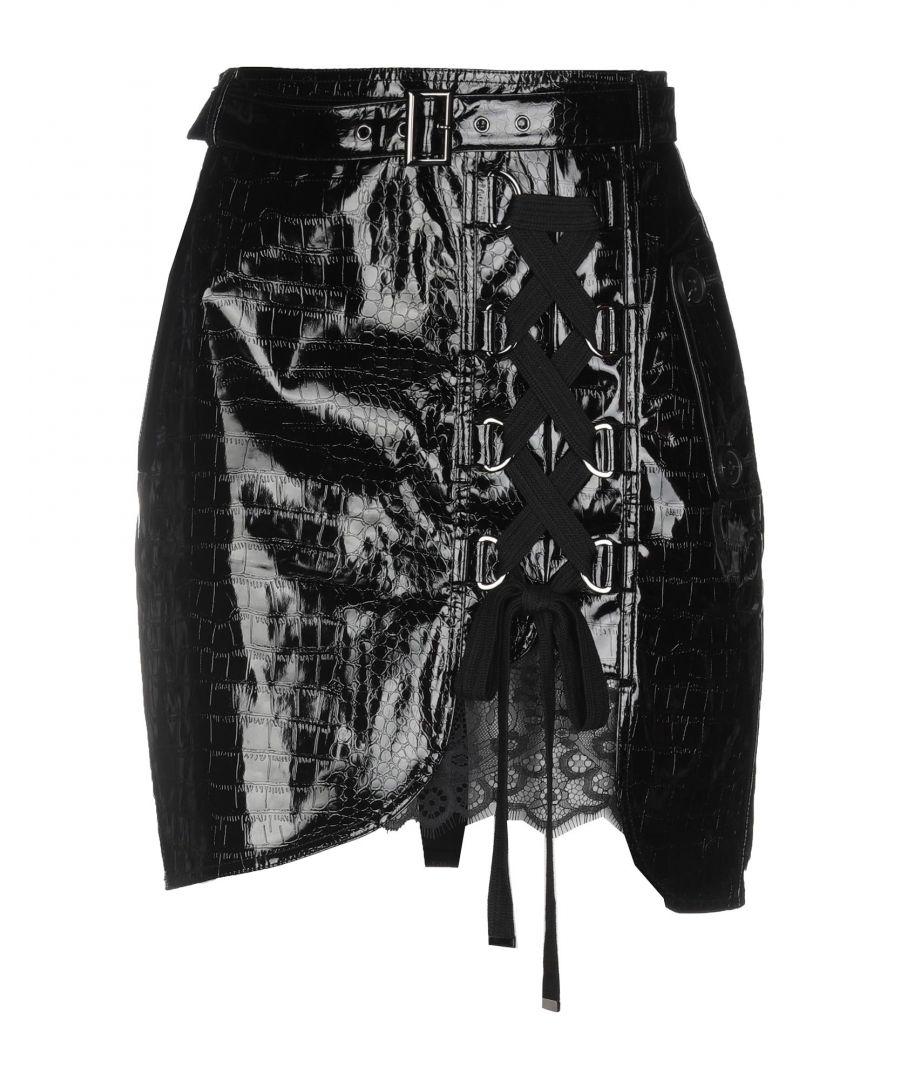 Image for Self-Portrait Black Faux Leather Mini Skirt