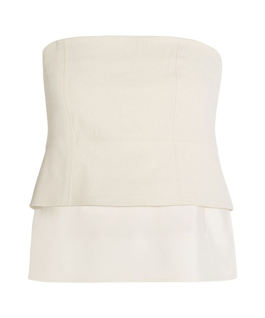 Image for Donna Karan Ivory Cotton Strapless Top