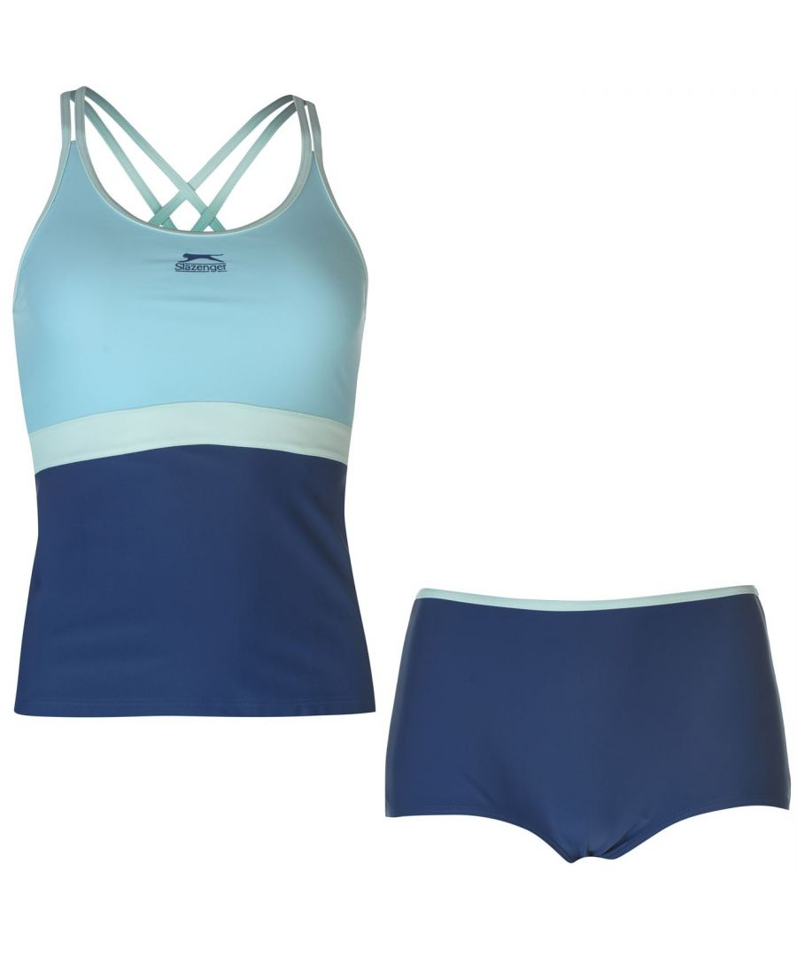 Image for Slazenger Womens Tankini Set Ladies Full Length Top Racer Back Shorts Style Sea