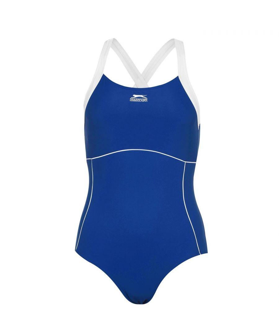 Image for Slazenger Womens X Back Swim Suit Ladies One Piece Swimsuit Beachwear Swimwear