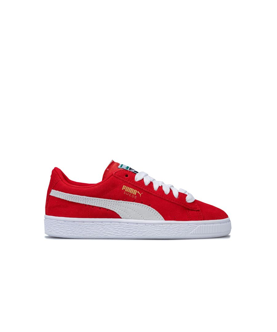 Image for Boy's Puma Junior Suede Trainers in red white