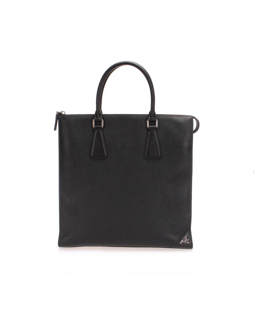 Image for Vintage Prada Saffiano Tote Bag Black