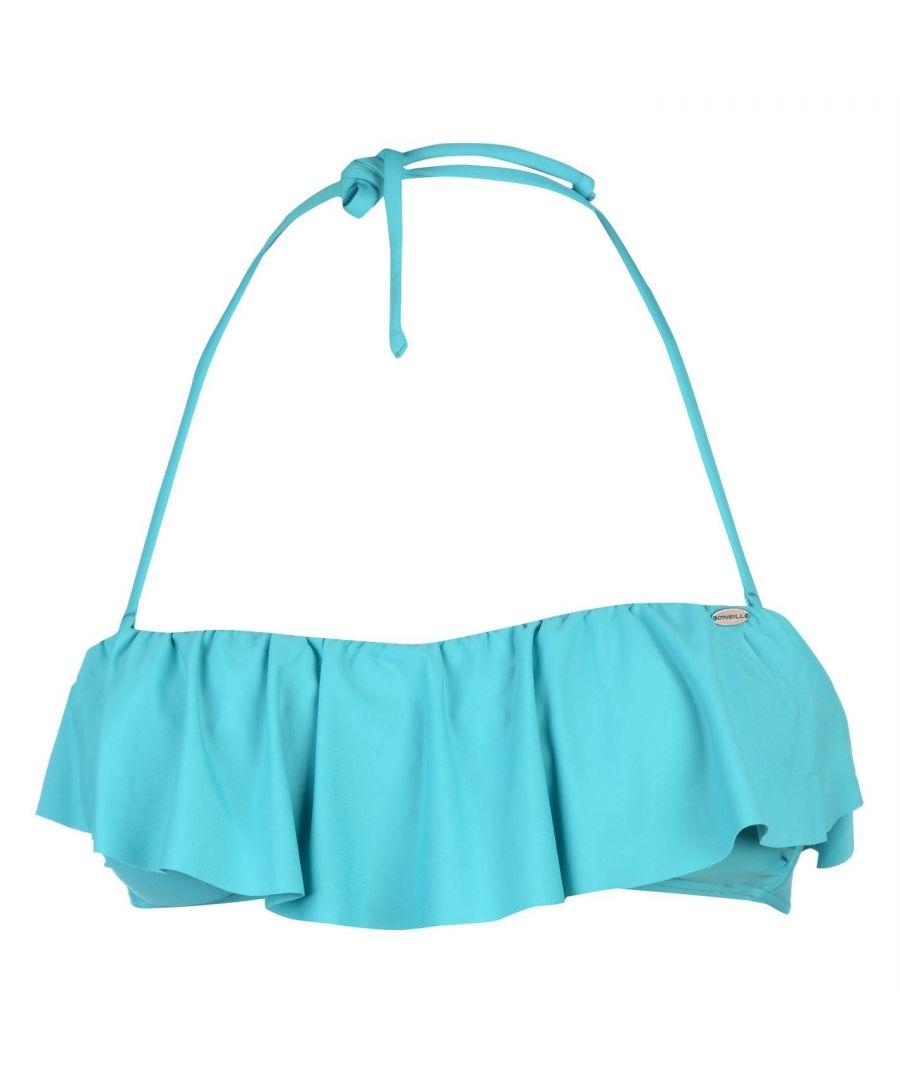 Image for ONeill Womens Ruffle Bikini Top Ladies Bra Tie Fastening Swimwear Block Coloured