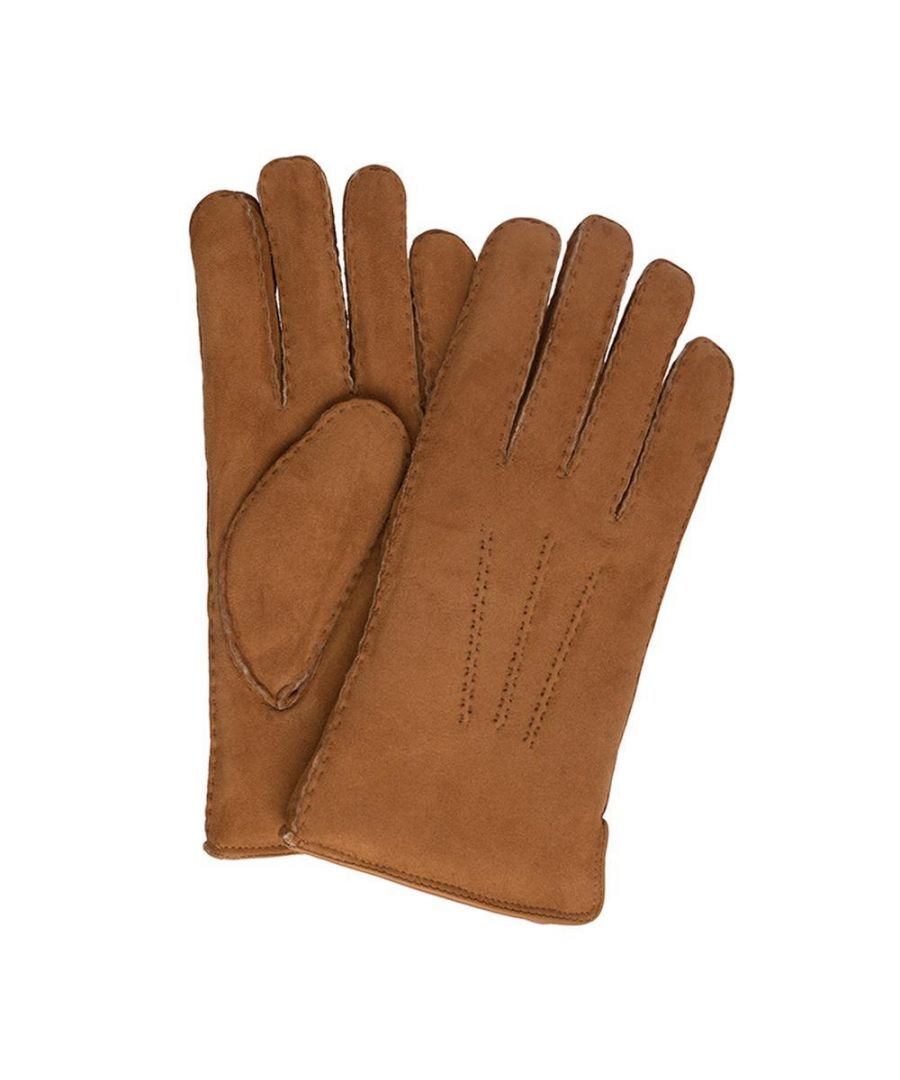 Image for Men's Hackett, Shearling Piped Gloves in Tan