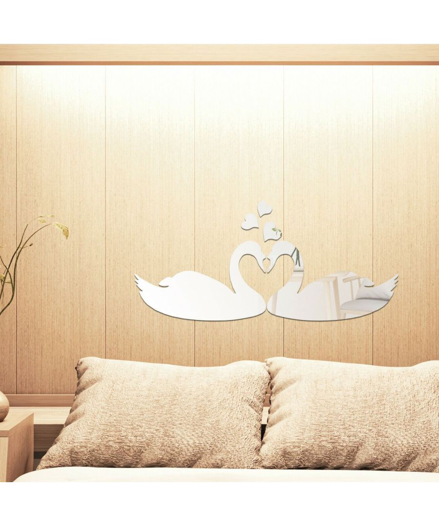 Image for DIY Crystal Romantic Swan Kiss Mirror Wall Art Self adhesive,DIY Wall Art, Wall Art Living Room, Mirror Wall Art