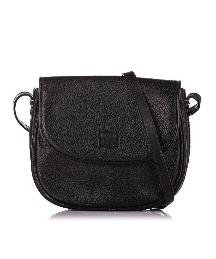 Image for Vintage Burberry Leather Crossbody Bag Black