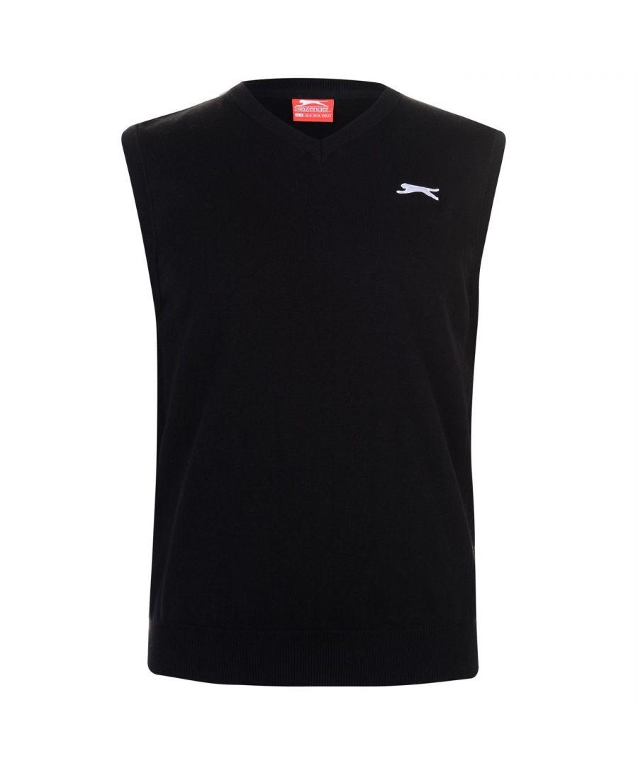 Image for Slazenger Mens V Neck Knitted Casual Golf Pullover Sleeveless Sweater Top