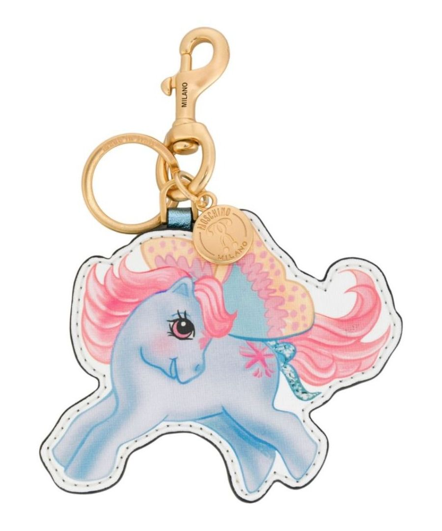 Image for MOSCHINO WOMEN'S A859882611888 LIGHT BLUE LEATHER KEY CHAIN
