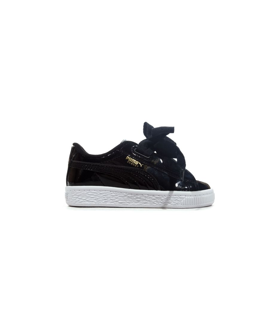 Image for Puma Basket Heart Patent Infant Trainer Black - UK 4
