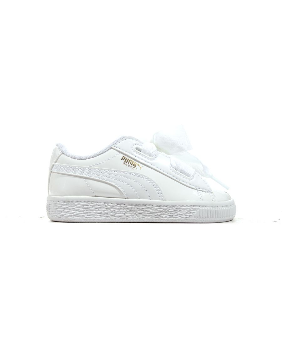 Image for Puma Basket Heart Patent Infant Trainer White - UK 3